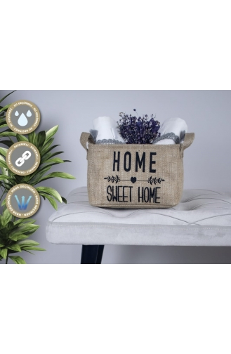 Rope Home Jüt Home Sweet Home Dikdörtgen Sepet 15x25x18 42-01 Bej