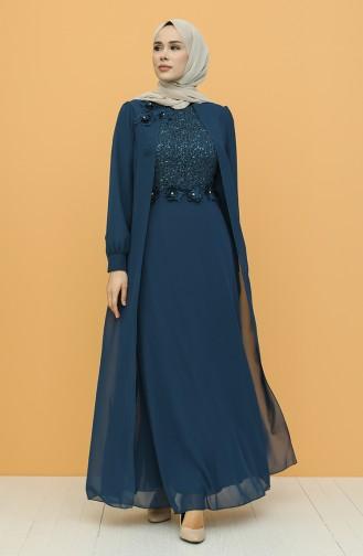 Petroleum Hijab-Abendkleider 52788-04