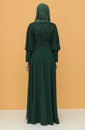 Pullu Abiye Elbise 4852-05 Zümrüt Yeşil