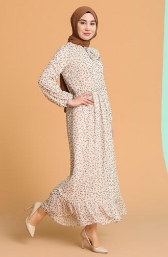 Beige Hijab Dress 4349-02