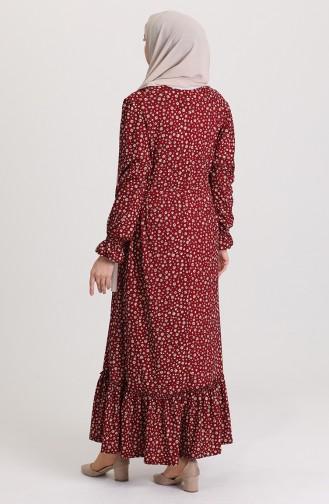 Büyük Beden Desenli Elbise 4577-03 Bordo
