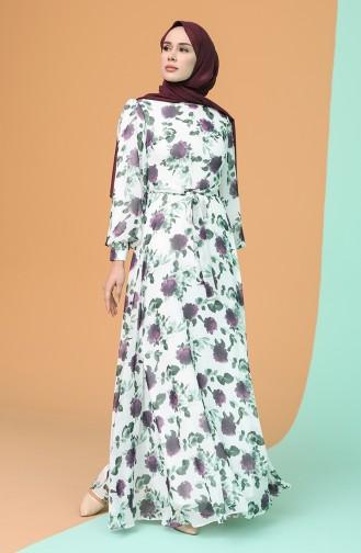 Desenli Kuşaklı Şifon Elbise 4862-01 Ekru