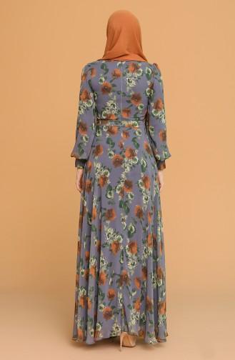 Desenli Kuşaklı Şifon Elbise 4862-04 Gri