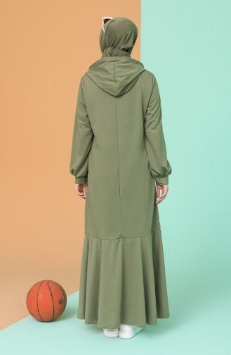 Green Almond Hijab Dress 6005-02