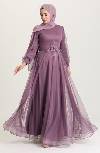Dark Violet Hijab Evening Dress 4949-01