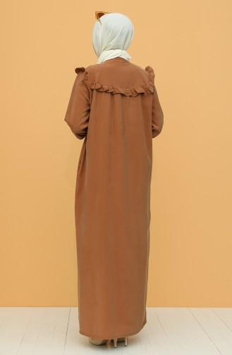 Boydan Düğmeli Elbise 21Y8350-03 Kahverengi