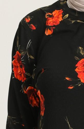 Çiçek Desenli Tunik 2001B-01 Siyah