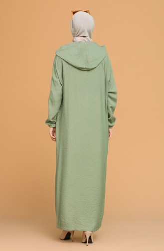 Kapüşonlu Keten Ferace 6887-03 Çağla Yeşili