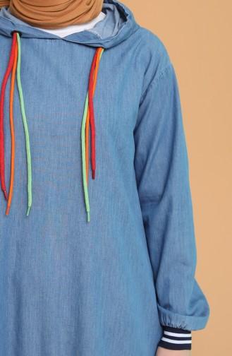 Kapüşonlu Kot Elbise 6209-01 Kot Mavi