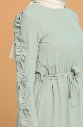 Kolları Fırfırlı Kuşaklı Elbise 1020-05 Çağla Yeşili