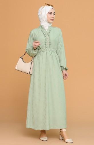 Green Almond Hijab Dress 1022-01