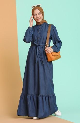 Büzgülü Kot Elbise 4109-02 Lacivert