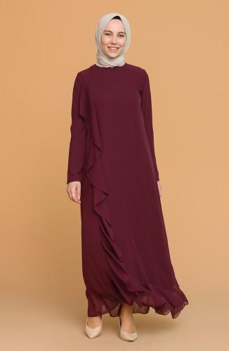 Volanlı Elbise 5302-01 Mor
