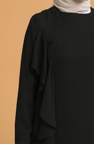 Volanlı Elbise 5302-03 Siyah