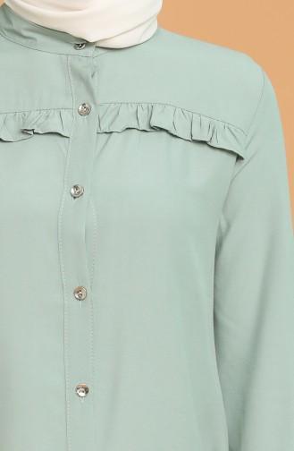 Düğmeli Tunik 1414A-08 Mint Yeşil
