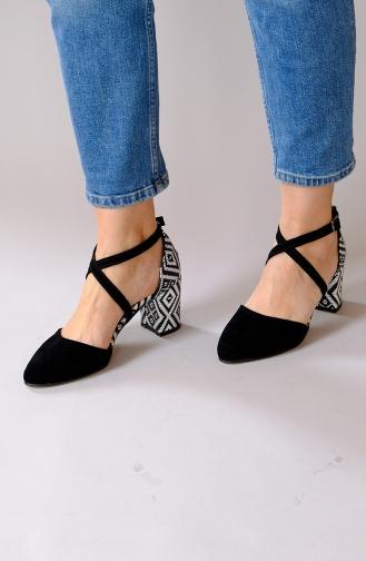 Zebra Desenli Topuklu Ayakkabı 20300-01 Siyah Beyaz 20300-01
