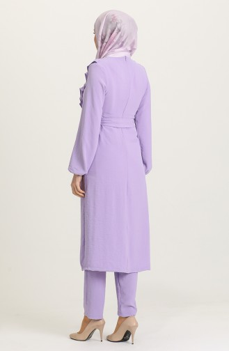 Fırfırlı Tunik Pantolon İkili Takım 1009-03 Lila 1009-03