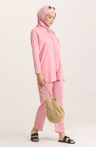 Beige-Rose Hijab Badeanzug 02180-01