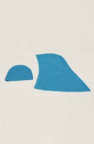 Fermuarlı Tesettür Mayo 02180-06 Mavi