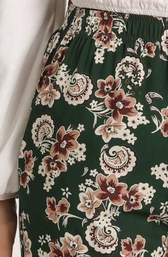 Desenli Bol Paça Pantolon 5548-03 Zümrüt Yeşili