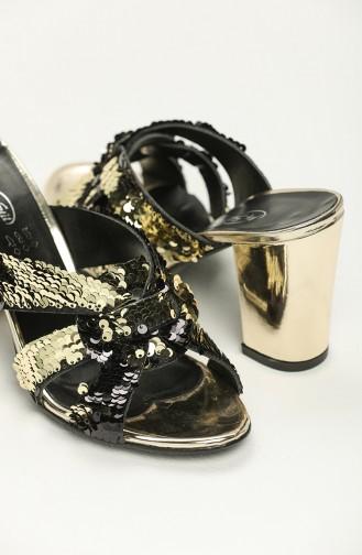 Bayan Pullu Topuklu Terlik Y11-8-01 Altın