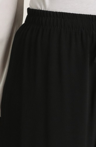 Beli lastikli Bol Paça Pantolon 4110-01 Siyah