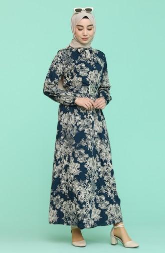 Robe Hijab Pétrole 2156-01