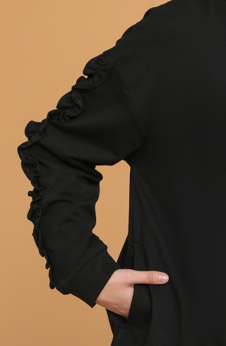 Kolları Fırfırlı Tunik 3020-01 Siyah