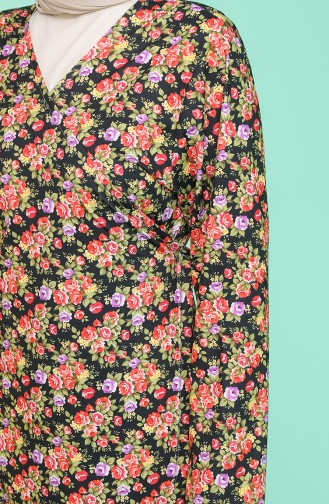 Yandan Bağlamalı Desenli Namaz Elbisesi 4182-01 Nar Çiçeği
