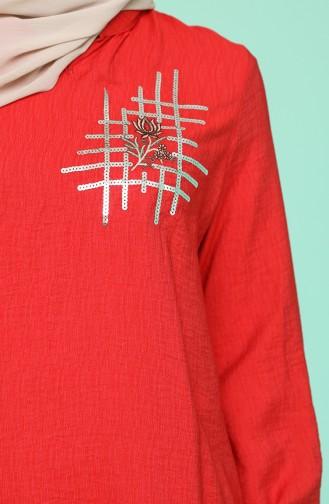 Pul Detaylı Tunik 1246-03 Kırmızı 1246-03