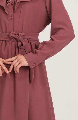 فستان زهري باهت 5052A-02