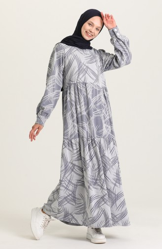 Gray Hijab Dress 21Y8381A-01