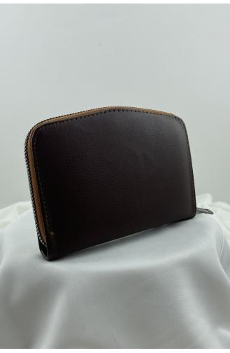 Fermuarlı Üç Bölmeli Para Cüzdanı 0943-03 Kahverengi 0943-03