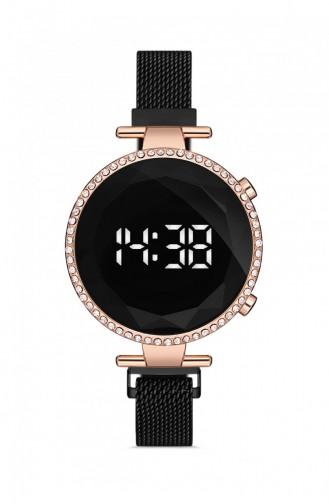 Siyah Rose Gold Kadın Hasır Kordon Dijital Kol Saati 8902712040201