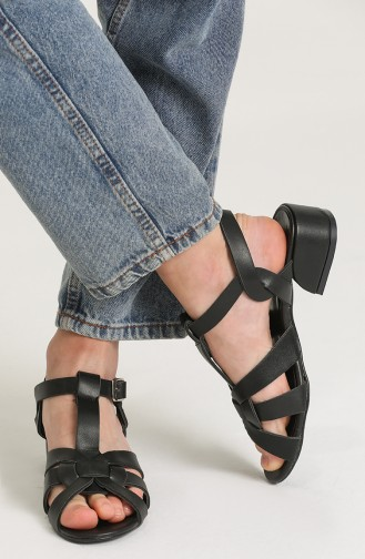 Bayan Sandalet Y5-15-05 Siyah Cilt
