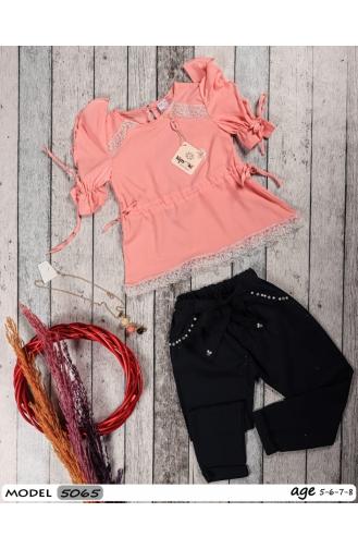 Kız Çocuk Yazlık Dantel Detaylı Pantolunlu Takım 5065-03 Pudra