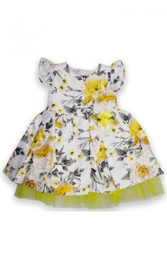 Kız Çocuk Yazlık Desenli Elbise 5044-04 Sarı