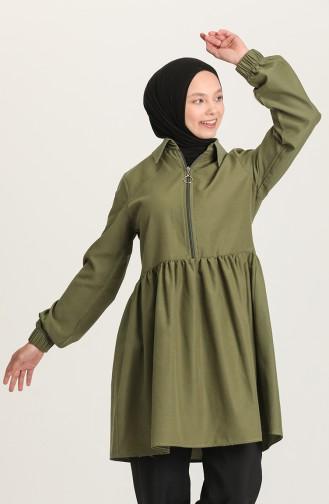 Fermuarlı Tunik Pantolon İkili Takım 0206-02 Haki 0206-02
