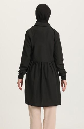 Fermuarlı Tunik Pantolon İkili Takım 0206-04 Siyah 0206-04