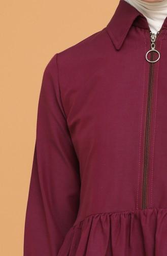 Fermuarlı Tunik Pantolon İkili Takım 0206-07 Mor