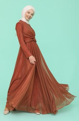 Ziegelrot Hijab-Abendkleider 5397-01