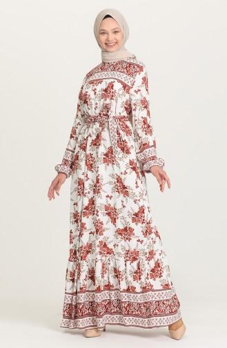 Desenli Kuşaklı Elbise 2167-02 Kiremit 2167-02