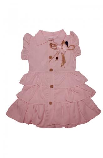 Kız Çocuk Yazlık 3 Katlı Gömlek Elbise 5045-02 Pudra