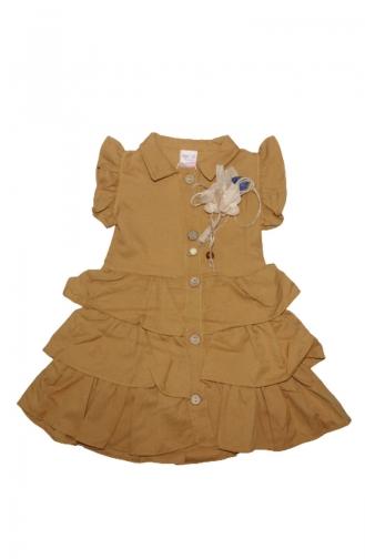 Kız Çocuk Yazlık 3 Katlı Gömlek Elbise 5045-04 Kahverengi