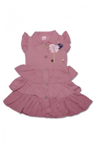 Kız Çocuk Yazlık 3 Katlı Gömlek Elbise 5045-06 Pembe 5045-06