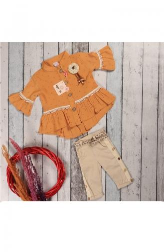 Kız Çocuk Yazlık Gömlekli Kaprili Takım 5060-01 Sarı 5060-01