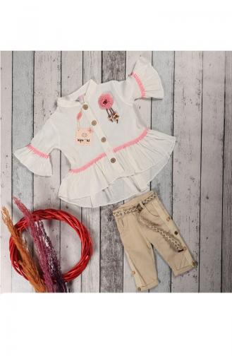Kız Çocuk Yazlık Gömlekli Kaprili Takım 5060-02 Krem