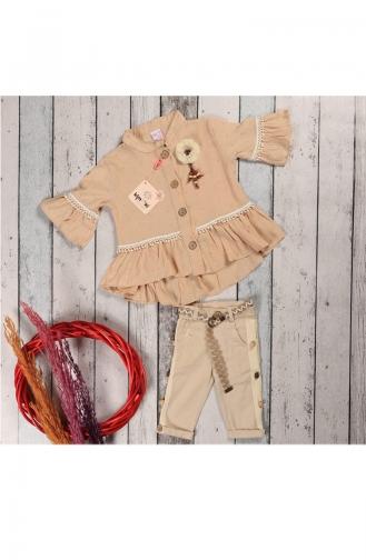 Kız Çocuk Yazlık Gömlekli Kaprili Takım 5060-04 Kahverengi