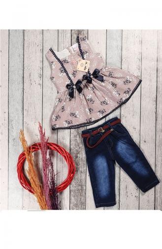 Kız Çocuk Yazlık Kot Kaprili Tunik Takım 5052-01 Bordo