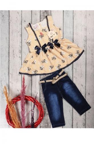 Kız Çocuk Yazlık Kot Kaprili Tunik Takım 5052-04 Sarı 5052-04